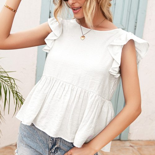 Backless Lace Women Blouse Ruffles Short Sleeve Tunic Splicing Solid Ladies Blouses Tops 2021 Summer Pleated Women's Casual Top