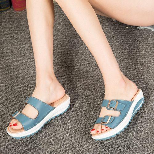 Platform Wedges Slippers Women Summer 2021 Outdoor Indoor Open Toe Casual Comfortable Beach Ladies Sandals Slip On Size Large
