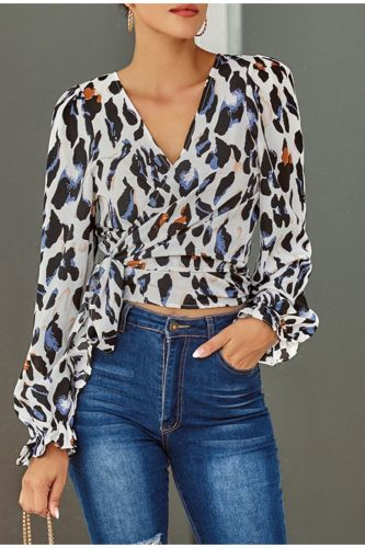 Summer Leopard Printing Short Blouses Women Long Sleeve Deep V-Neck Lace Up Casual Blouse Sexy Crop Office Ladies Slim Tops