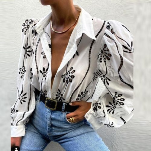 Women's Embroidery Print Shirt Turn-Down Collar Puff Sleeve Vintage Chic Shirts Summer 2021 New Niche England Style Lady Tops
