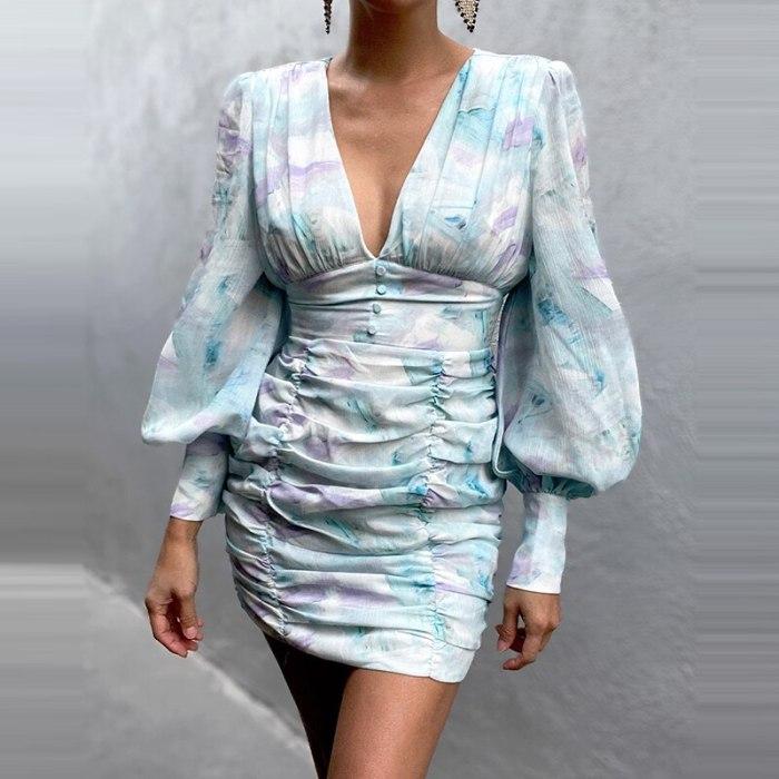 Summer Casual Fashion High Wasit Printed Sexy V Neck Women's Dress Autumn Elegant Slim Lantern Long Sleeves Bodycon Lady Dresses