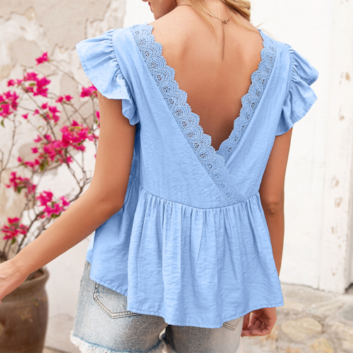 2021 Summer Women's Short Sleeve Casual Loose Round Neck Lotus Leaf Sleeve Tops Solid Color Halter T-Shirt Female