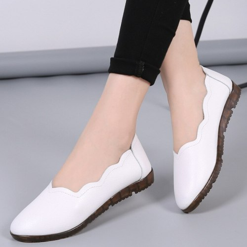 Soft-soled women 2021 new women's shoes spring mother shoes flat shoes large size round toe peas shoes
