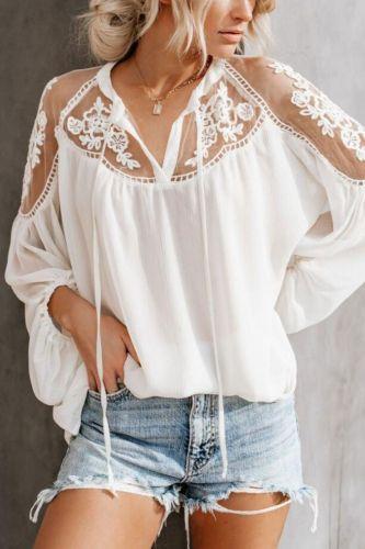 Women's White Chiffon Mesh Lace Blouse Tops Black Lantern Long Sleeve Transparent Womens Blouses 2021 Summer Spring Chic Shirts