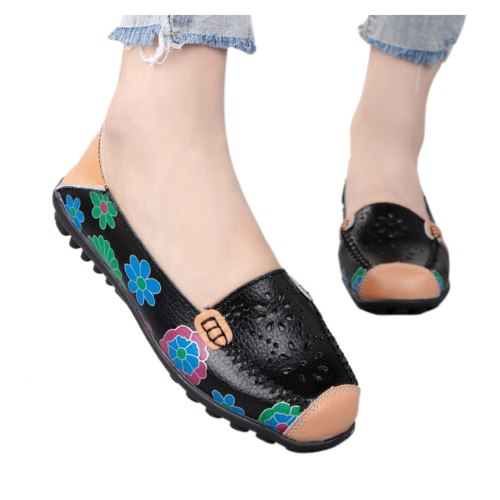 Leather Ladies Flat Summer Casual Shoes Woman Outdoor Loafers Single Shoes Hollow Out Round Toe Soft Comfort Vulcanize Shoes