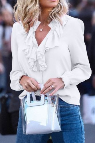 Chiffon Blouses Women 2021 Autumn Fashion Long Sleeve V-neck Ruffle Elegant Slim Solid Office Lady Casual Shirts Tops Plus Size