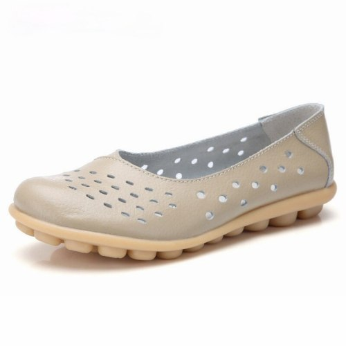 Leather Women Flats New Cut-Outs Summer Shoes Woman Hollow Women's Loafers Female Solid Shoe Large Size 35-44
