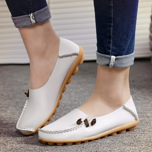 Spring Summer Flats Women Plus Size Genuine Leather Shoes Women Soft Nurse Loafers For Women Driver Chaussures Femme