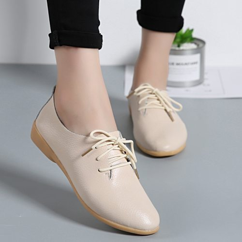 Genuine Leather Summer Loafers Women Casual Shoes Moccasins Soft Pointed Toe Ladies Footwear Women Flats Shoes Female yui8