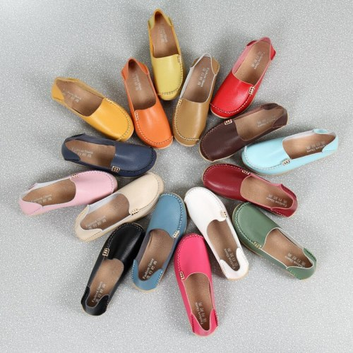 2021 Autumn Women Flat Shoes Genuine Leather Ballet Flats Shoes Cutout Flats Ladies Slip On Loafers Nurse Boat Shoes