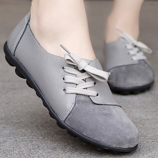 Casual shoes women round toe cross tied loafers Patchwork Gary Boat shoes flats plus size 35-44 Genuine Leather shoes woman
