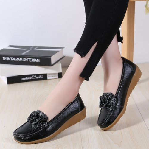 Spring Women Flats Loafers Shoes Woman Genuine Leather Flats Female Shoes Loafers Casual Slip-on Walking Shoes Woman Tenis