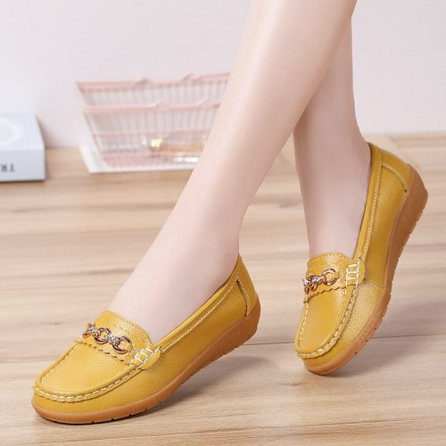 Flat Shoes Women Slip On Shoes For Women Genuine Leather Loafers Women Flats Ladies Shoes Mocassin Plus Size 44 Sapato Feminino