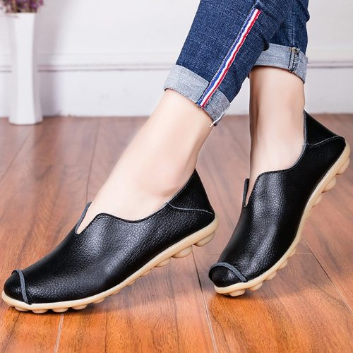 Women shoes summer big size 35-43 2021 fashion blue flats slip-on loafers square toe metal decoration leather ballet flats