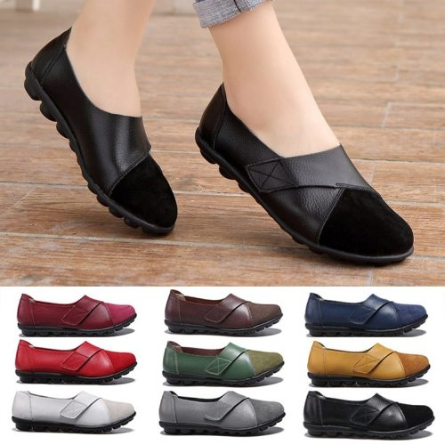 Orthopedic PU Leather Loafers Soft Sole Casual Flats Shoes for Women Students