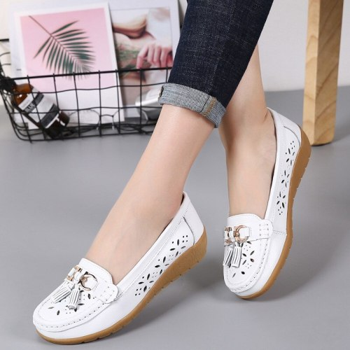 Women's flat Genuine Leather Shoes Woman Loafers Slip-On Female Flats Moccasins Ladies Driving Shoe Cut-Outs Mother Footwear
