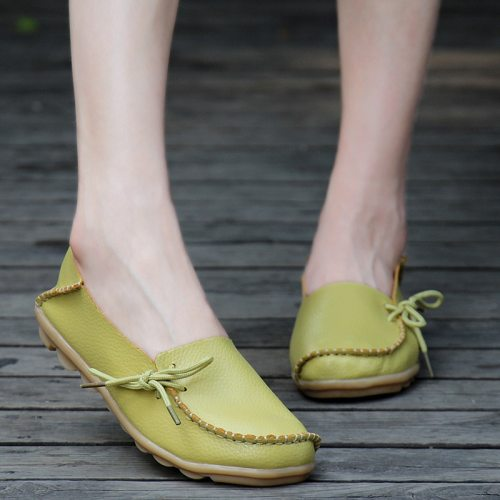 2021 New Spring/autumn Round Toe Solid Shallow Soft Sole Comfortable Genuine Leather Slip On Shoes For Women Flats