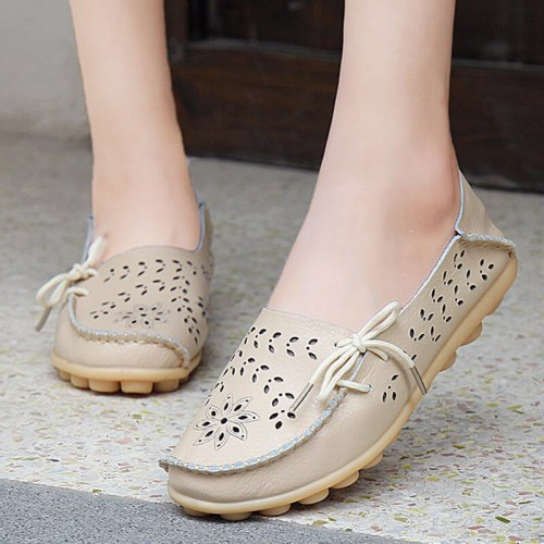 Women Flats Shoes Women Genuine Leather Shoes Woman Loafers Cut-Outs Flat Shoes Women Moccasins Fashion Casual Tenis Feminino
