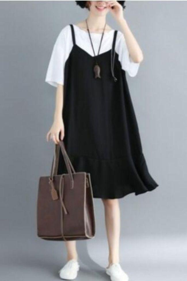 Women's Casual Dress Loose Splicing Fake Two-piece Set Of Korean Girls' Version Of Summer Belt Chiffon Fishtail Dress Vestidos