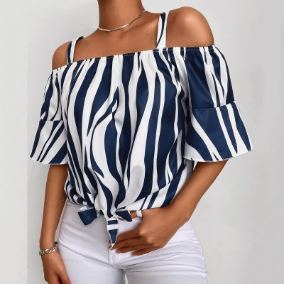 Blouse 2021 Ladies Fashion Sexy Slash-Neck Strapless Chiffon Strip Knotted Casual Shirt Top Female Blusas blouses femme S-2XL