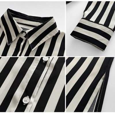 spring summer Korean design loose striped shirt women's thin retro Long Sleeve Chiffon Blouse Button Cardigan Clothes Women