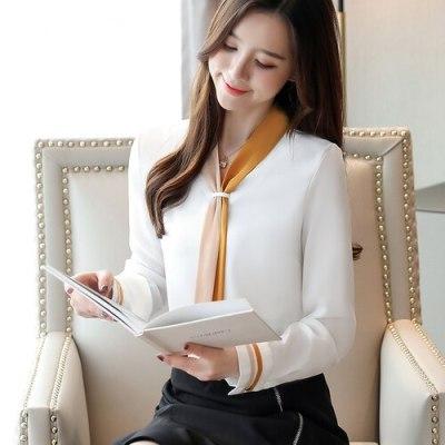 Korean Fashion Chiffon Women Blouses Women Shirts White Womens Tops and Blouses Office Lady Blusas Femininas Elegante