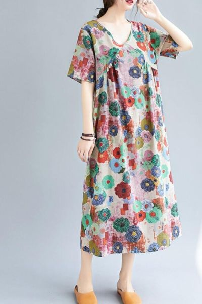 new cotton hemp dress loose and fat mm foreign style printing V-neck thin medium length  large women's dress
