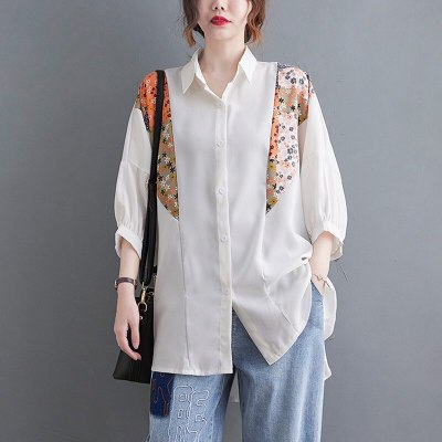 Oversized Women Summer Loose Casual Shirts New Arrival 2021 Vintage Style Turn-down Collar Patchwork Print Female Tops B088
