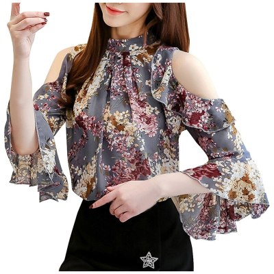 Floral Printed Chiffon Fashion Blouse Women Off-shoulder Shirts Short Sleeve Sexy Tunic Tops Vintage Clothes Блузка Женская 2021