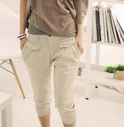 Plus Size 2XL Summer Women's Pockets High Waist Capris Pants Casual Loose harem pants Comfortable Women Pants