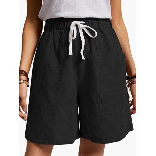 Women's Cotton Linen Short Pants Elastic Waist 2021 Summer High Waist Lace Up Bottoms Pockets Female Sportswear Casual Shorts