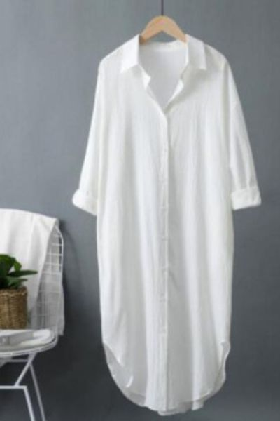 Women Long Sleeve White Shirt Dress Autumn Vintage Button Midi Dresses Female Casual Loose Oversized Robe Cotton Linen Vestido
