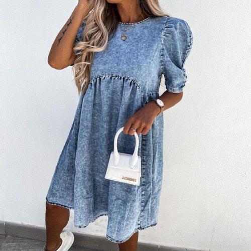 2021 Fashion Spring Elegant Lady Party Dress Vestidos Summer Women Puff Sleeve Jean Mini Dresses Casual O Neck Loose Denim Dress