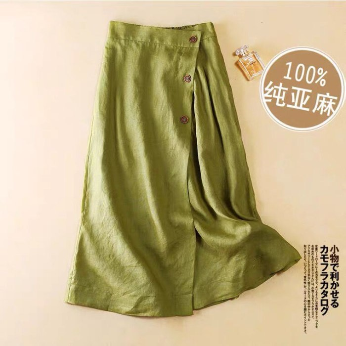100% Linen Skirt Women 2021 Spring Summer Thin Elastic Wasit A -Line Mid-Long Vintage Slit High Waist Simple M-2XL Plus Size