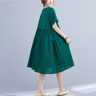 Cotton and Linen Plaid Stitching Dress New Short-sleeved Round Neck Loose Large Size Medium and Long Section A-line Dress Summer