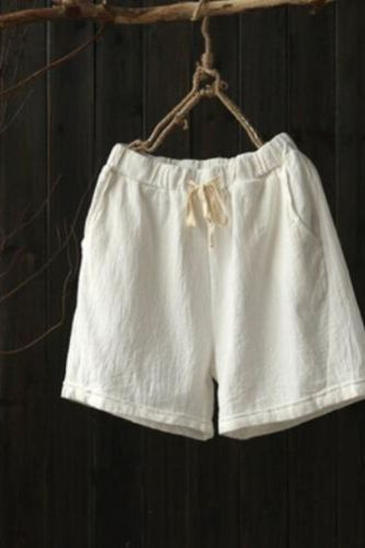 Women Summer Shorts Elastic Waist 6 Color Pockets Cotton Linen 2021 Summer New  Women Cloths Casual Shorts