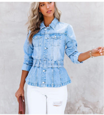 2021 autumn new women's solid color casual waist long-sleeved denim