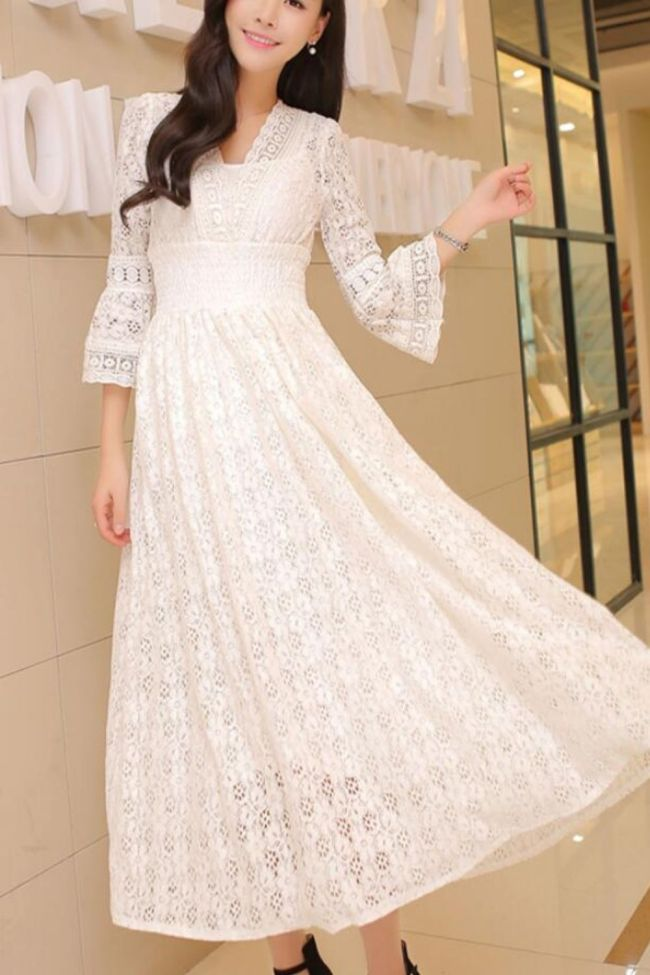 Women High Waist Lace Stitching Dress Slim Dresses Casual Loose Sexy V-neck Long Dress