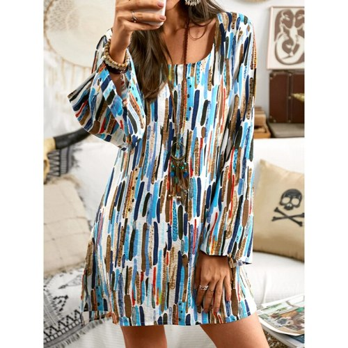 2021 Autumn Long Sleeve Loose Mini Dress for Womens Clothing Bohemian Vintage Elegant Dresses Ladies Casual Round Neck Sundress