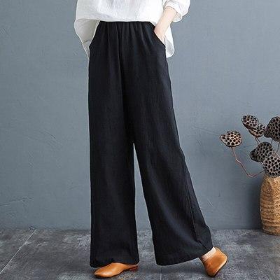Women Wide Leg Pants Summer Cotton Linen Pant Female Soft High Waist Loose Pants Plus Size Trousers Women Pure Color Pants