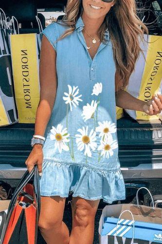 Women Summer Denim Casual Loose Dress Single-Breasted Design Ruffles Decor Turn-down Collar Short Sleeve Solid Mini Dress
