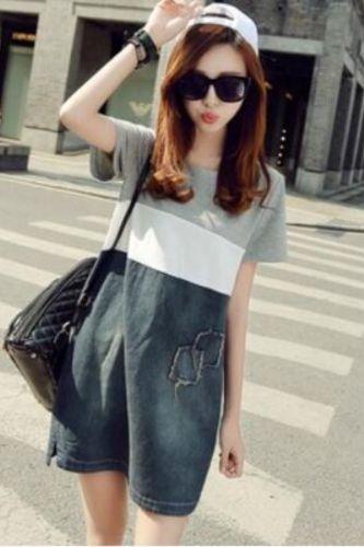 Summer New Short-sleeved Stitching Denim Dress Female Korean Version Plus Size Women's A-line Dresses Casual Pocket Street Dress