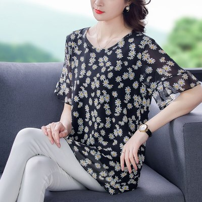 New Vintage Chiffon Summer Loose Blouses Large Size Dot O-Neck Shirts Womens Workwear Casual Tops Clothing 2021 Blusas Female