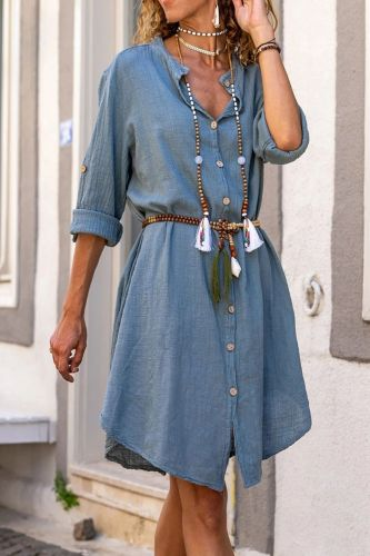 2021 Summer High Quality New Design Fashion Women's Dress Solid Color Loose Casual Single Breasted Dress