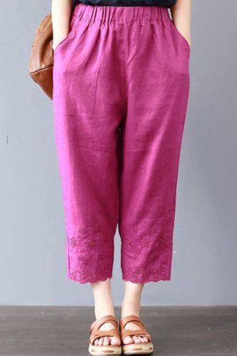 Casual Linen Pants Women's Trousers 2021 Vintage Loose Solid Color Pantalon Female Elastic Waist Turnip Pants Plus Size 4XL F123