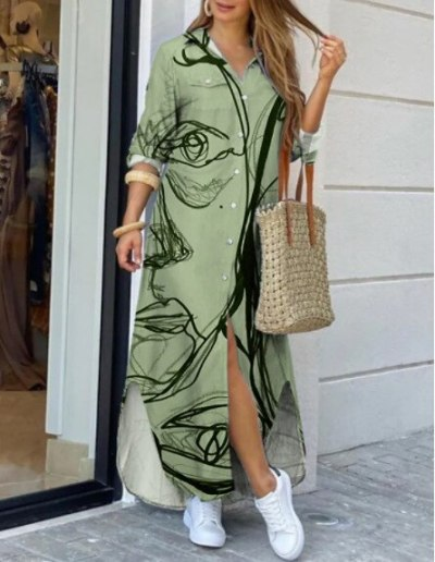 2021 summer new women's loose casual single-breasted printed dress