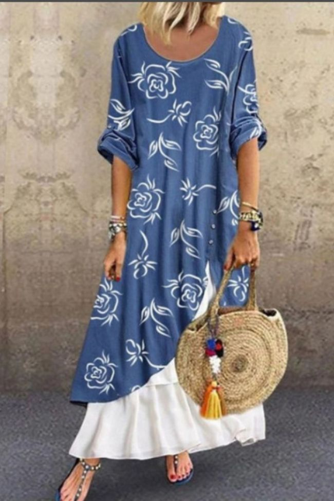 2021 Summer New Hot-Selling Dress Fashion Women's Loose Printing Solid Color Stitching Casual Dress