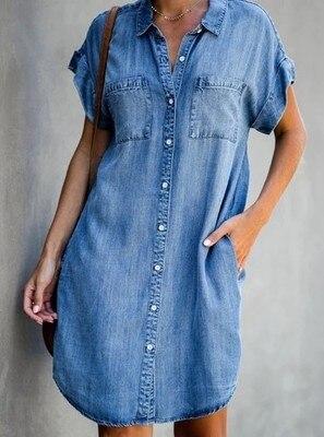 Women denim mini shirt dress robe jean chemise femme Double pocket short sleeve button up jeans dress 2021 vestidos mezclilla