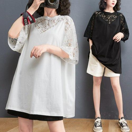 BIG SIZE Summer Women Korea Fashion Lace Spliced Tops Tee Ladies Female Plus Large Short Sleeve Cotton Loose Femme Sexy T shirt