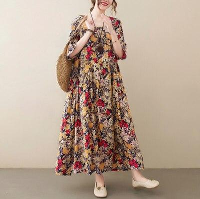 Oversize Oversized Women Fashion Print Long Dress Summer 2021 Casual Loose Dresses Large Size Tunic 3XL 4XL 5XL 6XL 8XL